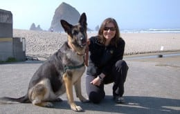Tracy and her dog Tasha at Cannon Beach