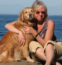 Linda Bailey AUTHOR PHOTO WITH DOG SOPHIE